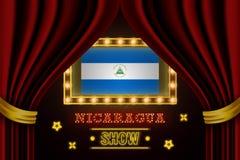 Showzeitbrett für Leistung, Kino, Unterhaltung, Roulette, Schürhaken des Nicaragua-Landereignisses Gl?nzende Gl?hlampeweinlese vo vektor abbildung