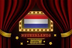 Showzeitbrett für Leistung, Kino, Unterhaltung, Roulette, Schürhaken des niederländischen Landereignisses r lizenzfreie abbildung