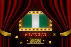Showzeitbrett für Leistung, Kino, Unterhaltung, Roulette, Schürhaken des Nigeria-Landereignisses Gl?nzende Gl?hlampen lizenzfreie abbildung