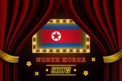 Showzeitbrett für Leistung, Kino, Unterhaltung, Roulette, Schürhaken des Nordkorea-Landereignisses r stock abbildung