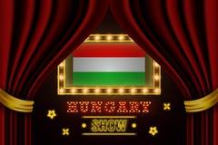 Showzeitbrett für Leistung, Kino, Unterhaltung, Roulette, Schürhaken des Ungarn-Landereignisses Gl?nzende Gl?hlampeweinlese von stock abbildung