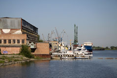 Shpyard of shipbuilding and repairing company on the river Don, Azov, Russia Stock Photo