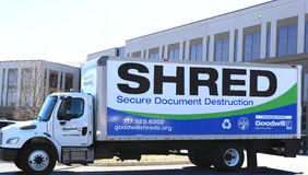 Mobile Document Shredding Truck. In corporation park Stock Photo
