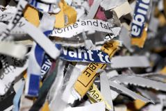 Shredded. A micro shot of a pile of cross-cut shredded paper Stock Images