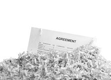 Shredded agreement isolated Royalty Free Stock Images