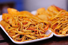 Shredded bean curd crust. For eat Royalty Free Stock Photography