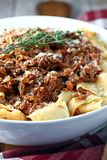 Shredded Beef Ragu with Noodles. Shredded beef ragu sauce with pappardelle noodles stock image