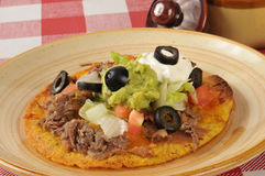 Shredded beef tostada Royalty Free Stock Image