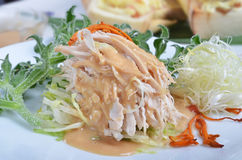 Shredded boiled chicken with  sauce Stock Photography