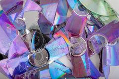 Shredded CD and DVD data disc royalty free stock photo