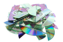 Shredded CDs. Some destroyed CDs - shredded by a shredder Royalty Free Stock Photo