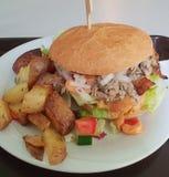 Shredded chicken burger stock photo