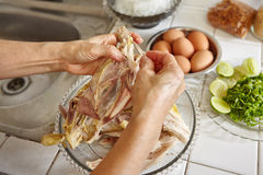 Shredded chicken. For the ingredient for Soto, the traditional Indonesian chicken soup Stock Photography