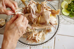 Shredded chicken. For the ingredient for Soto, the traditional Indonesian chicken soup Royalty Free Stock Photography