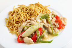 Shredded chicken and noodles Royalty Free Stock Images