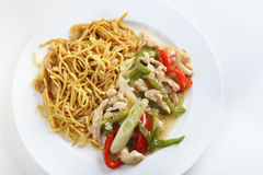 Shredded chicken noodles high angle Royalty Free Stock Photography