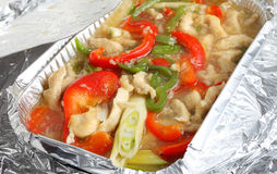 Shredded chicken and pepper slices Royalty Free Stock Photography
