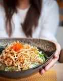 Shredded chiken salad, Japanese crispy chicken salad stock photography