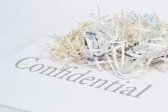 Shredded confidential document. Shredded confidential paperwork for security/privacy purpose Royalty Free Stock Image