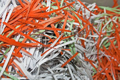 Shredded Confidential Office Documents. Shredded Confidential Office Document Papers for Recycling Stock Photography