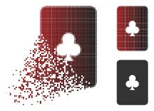 Shredded Dot Halftone Clubs Playing Card Icon. Clubs playing card icon in sparkle, pixelated halftone and undamaged whole versions. Particles are arranged into royalty free illustration