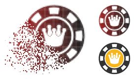 Shredded Dotted Halftone Crown Casino Chip Icon. Crown casino chip icon in dispersed, pixelated halftone and undamaged solid versions. Points are combined into stock illustration