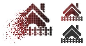 Shredded Dotted Halftone Home Fence Icon. Home fence icon in dispersed, dotted halftone and undamaged whole versions. Pixels are composed into vector sparkle stock illustration