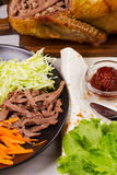 Shredded duck, carrot, cabbage, cucumber, salad, tomato sauce and flat bread Royalty Free Stock Photography