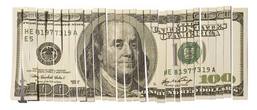 Shredded Hundred Dollar Bill Stock Photo