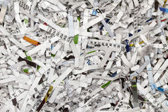 Shredded Mail. Shredded printed mail destroyed in strips Stock Image