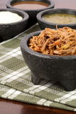 Shredded mexican beef and salsas Royalty Free Stock Image