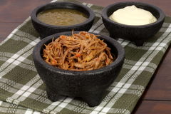 Shredded mexican beef and salsas Royalty Free Stock Photo