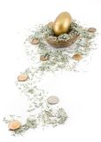 Shredded Money Trail to Nest Royalty Free Stock Images