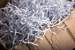 Shredded Paper in Cardboard Box Stock Photography