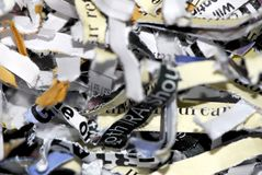 Shredded Paper. A micro shot of a pile of cross-cut shredded paper royalty free stock photography