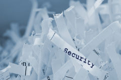 Shredded paper. With the word security on it stock images