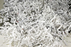 Shredded Paper. In black mesh waste basket Royalty Free Stock Photography