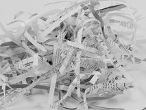 Shredded Paper. Black and white image of some shredded paper Royalty Free Stock Image
