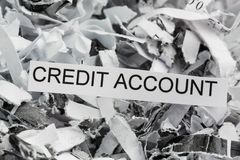 Shredded paper credit account Stock Photos
