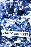 Shredded paper customer list Stock Image