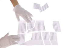 Shredded paper in hand Royalty Free Stock Photos