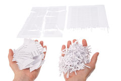 Shredded paper in hand Royalty Free Stock Image