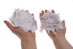 Shredded paper in hand Stock Photos