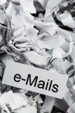 Shredded paper keyword e-mails Stock Image