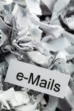 Shredded paper keyword e-mails Stock Photo