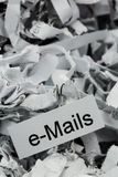 Shredded paper keyword emails Stock Image