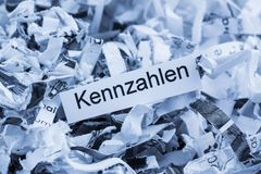 Shredded paper keyword metrics. Shredded paper for keyword metrics, symbol photo for data destruction, business and economic development Stock Image