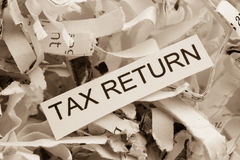 Shredded paper tax return Royalty Free Stock Photography