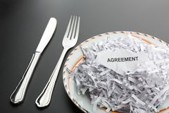 Shredded papers on the plate Stock Photo