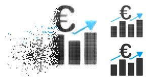 Shredded Pixel Halftone Euro Business Bar Chart Icon. Euro business bar chart icon in fractured, dotted halftone and solid variants. Pieces are arranged into royalty free illustration